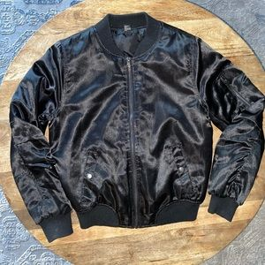 Women's black satin bomber jacket